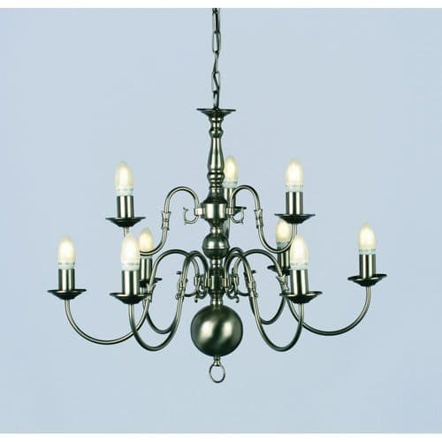Impex Lighting BF00350/6+3/PW Flemish Chandelier Pewter